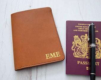 MONOGRAM - Passport Holder Cover Custom Personalized initials - Tan
