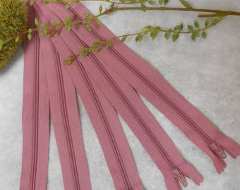 Pink old zipper 20 cm - set of 5 - not separable