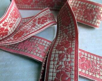 Vintage Pink Gold Metallic Ribbon Trimming, Floral Pink Gold Heavy Fancy Vintage Ribbon for Millinery Dressmaking Costumes