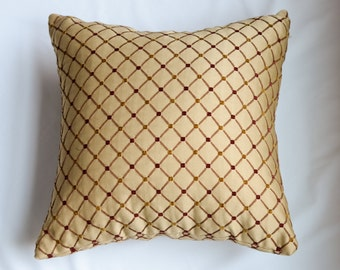 Small Scale Gold and Burgundy Diamond Print Pillow Cover