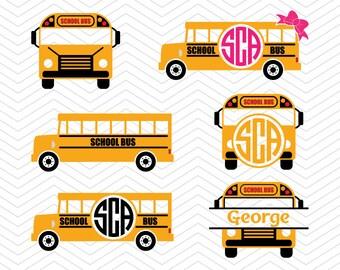 School Bus Monograms SVG DXF PNG eps Yellow Teacher back to school Cut File for Cricut Design, Silhouette studio, Sure A Lot, Makes the Cut