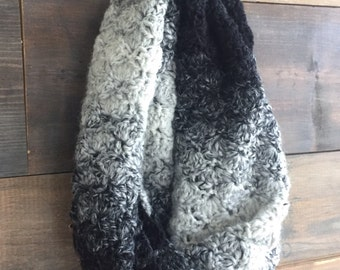 Infinity Scarf Crochet Black and White