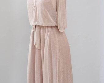 Vintage Dress 70s 80s Metallic Knit Dress Champagne Pink Sparkly Semi Sheer Glam Disco Dress S M