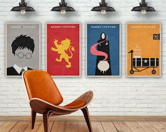 Harry Potter Poster Set. Set of 4 Prints. Movie Poster. 13x19, 16x20, 18x24, A1 size. Pop Culture and Modern Home Decor Poster. Item No. 088