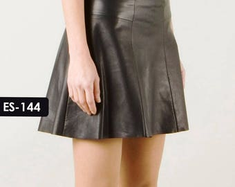 Soft Genuine Leather Pleated Women Mini Skirt