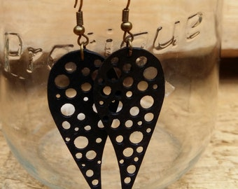 Inner tube earrings, Vegan leather earrings, Eco friendly earrings, Upcycled earrings, One of a kind earrings, Recycled earrings