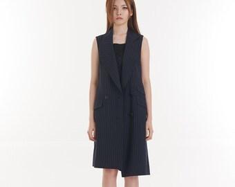 Summer Wool Asymmetrical Structure Long Vest_DARK NAVY