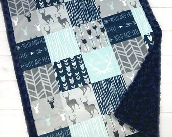 Little One - Deer Baby Blanket - Wild and Free - Baby Boy Quilt - Navy and Mint