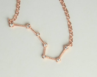 Rose gold Big Dipper necklace. Ursa Major. Diamond Constellation charm. Celestial star pendant.Minimalist. Gift for her