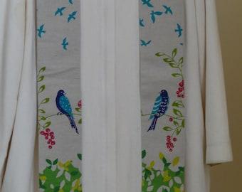 Clergy Stole:  Linen Bluebirds
