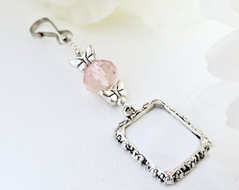 Wedding bouquet photo charm. Butterflies bridal bouquet charm. Photo charm with crystal and butterflies. Pink crystal charm gift for a bride
