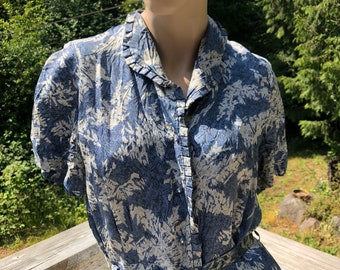 30s 40s Deco Kitschy Blueish Floral Print Day Dress/ WWII Day Dress M-L