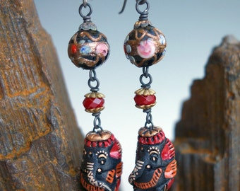Ganesh Elephant Venetian Bead Earrings