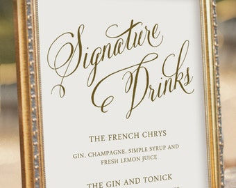 Bebidas de la firma archivo PDF digital recepción boda - signo - de boda