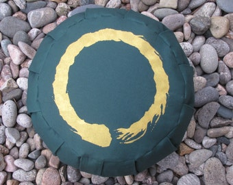 Zafu Meditation Cushion Pillow Enso green
