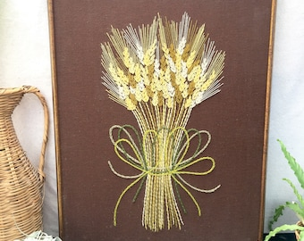 Wheat Sheaf Crewel - Retro Embroidery - Vintage Needlework - Large Scale Embroidery - Framed Folk Art - Harvest - Fall Decor - Hand Stitched