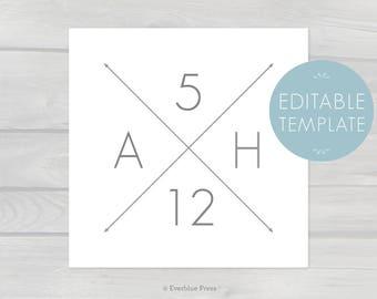 Nursery Initials Wall Art Printable Template | 8x8 12x12 20x20 Editable PDF Instant Download | Warm Gray Gender Neutral Monogram Baby Decor