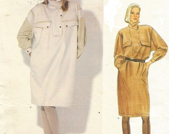 1980s Claude Montana Womens Chemise Dress Military Style Dolman Sleeves Vogue Sewing Pattern 1071 Size 8 10 12 Bust 31 1/2 to 34 FF