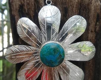 Big sterling silver flower pendant. Round Chrysocolla stone.