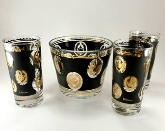 G Reeves Crown Glasses and Ice Bucket.  Mid Century Barware in Black and Gold.