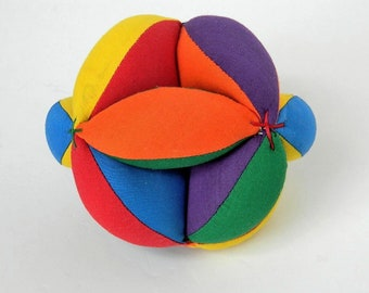 Montessori Preschool Toy - Learn Your Colors - Baby Clutch Grab Ball - Unisex Learning Toy - Sensory Toy - Baby Shower Gift - Handmade Ball