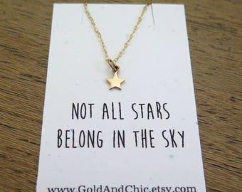 Tiny Gold Star Necklace, Gold Star Necklace, Gold Necklace, Best Friend Gift, Celestial Jewelry