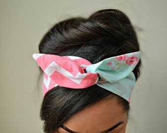 Spring Chevron Style Dolly Bow head band
