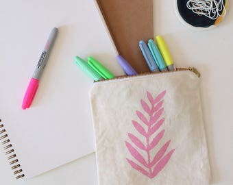 pink fern leaf hand printed tropical pouch coin purse gift SALE