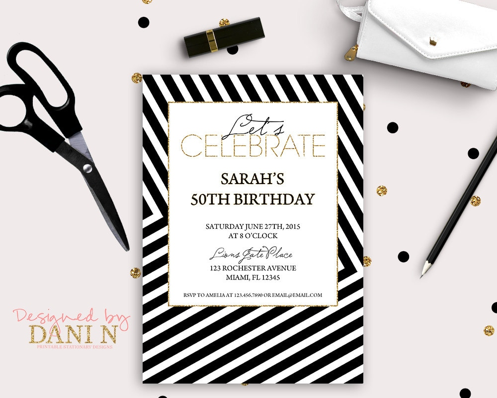 Elegant Adult Birthday Invitation 50th invite black stripes