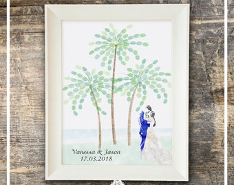 Wedding Guest Book Fingerprint Guest Book Watercolor - Palm Trees - Alternative Guest Book Ink Pad, Fireworks  Wedding Gift