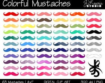 Digital Clipart Mustaches-Colorful Mustaches-Bright Colors-Rainbow Pack-Digital Mustache-Printable Mustache Art-Instant Download Clip Art
