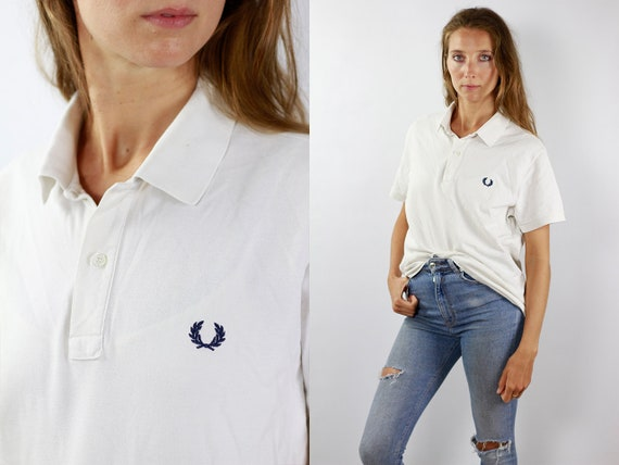 Fred Perry Shirt Fred Perry Poloshirt White Poloshirt Fred Perry Vintage Fred Perry Top White Top Fred Perry 90s T-Shirt Fred Perry 90s Top