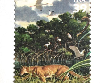 5 Florida Panther Postage Stamps // Florida Wetland Scene // Unused 39 Cent Panther Postage Stamps for Mailing