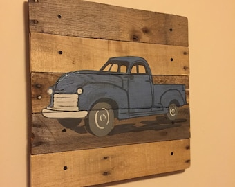 Medium Vintage pickup truck, made in the USA,size 21 inches wide x 18 inches,pallet art,rustic wall art,reclaimed wood,hand crafted/painted