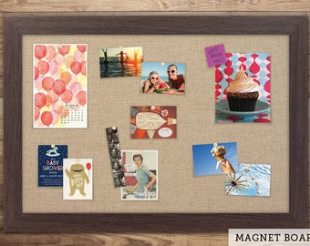 Magnetic Bulletin Boards | Framed Magnet Boards | Magnet Board | Decorative Magnet Boards - Boardwalk Frame + Burlap Fabric