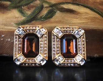 1980's topaz color gemstone style Christian Dior earrings