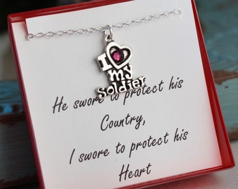 Love My Soldier - Deployment necklace - Sterling Silver Chain - Military Girlfriend - Military Wife