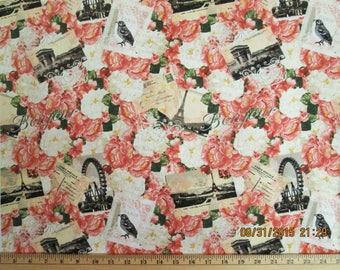 Jessica C3561 Bonjour Paris Peonies Floral Cotton Fabric #48