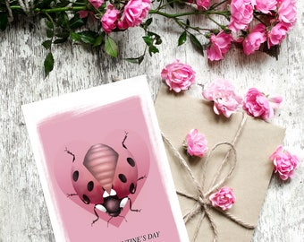 My lovebug card, Love Bug Valentines Day Card, love heart card, red ladybird card, love card for lovers, valentines day for her,