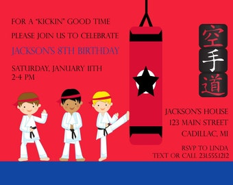 Boys Karate Birthday Invitation, Karate Birthday Party Invitation, Kids Party Printables