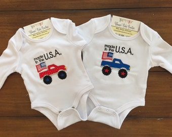 Truck onesie, baby outfit, american flag outfit, baby shower gift, boy onesie, monster truck onesie