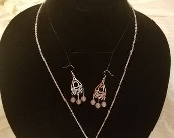 Pink Gem Necklace and Earrings