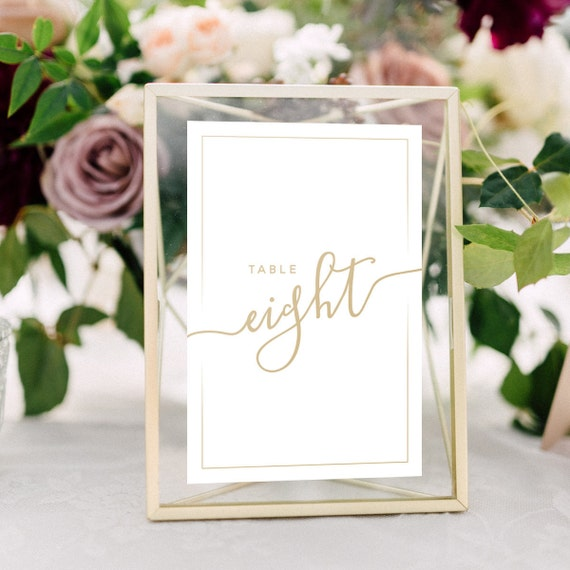 Wedding Table Numbers with Frames: GOLD Calligraphy Metallic