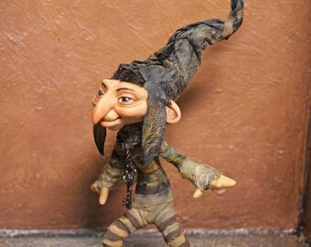 Nimble Key Troll, OOAK Artists Doll Collectible made of high polymer clay bendable doll hand painted and sculpted House Fairy