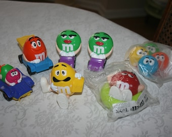 Set of Seven 7 Vintage M & M, Mars Candy, Children, Child, Toy, Figures, Figurines