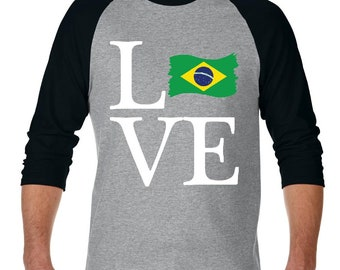Love Brazil  Raglan Sleeve Baseball T-Shirt