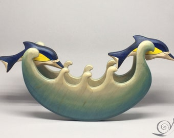 Toy  2 Dolphins jumping on waves | Size: 28,0 x 13,0  x 6,0 cm (b x h x s)  approx. 255 gr.