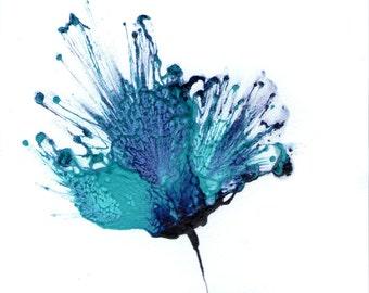 Blue Art Abstract Flower Painting Floral Artwork Original Modern Paintings