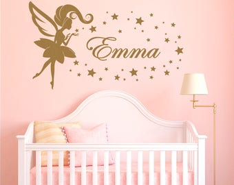 Nursery Personalized Girl Name Wall Decal, Fairy Wall Sticker, Fairy Star Wall Decal, Removable Vinyl Kids Sticker, Wall Art Bedroom #2
