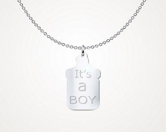 It's a boy baby bottle necklace, sterling silver necklace, mommy gifts, baby shower favor, baby shower gender reveal necklace, gifts for her